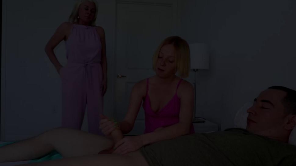 Milf teaching her best friend how to give handjob