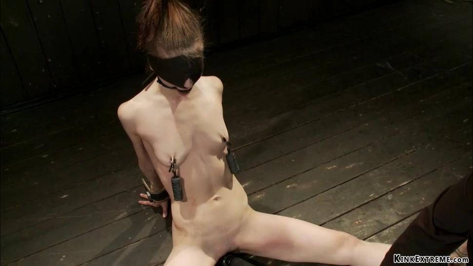 Suspended upside down slut toyed