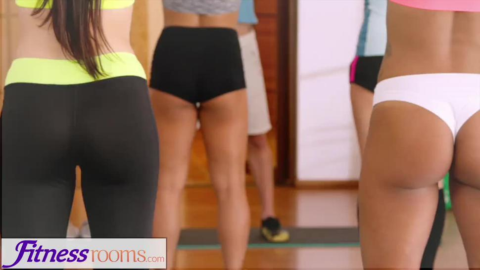 Fitness Rooms Young athletic yoga beauty in lycra shorts fucked by gym hunk