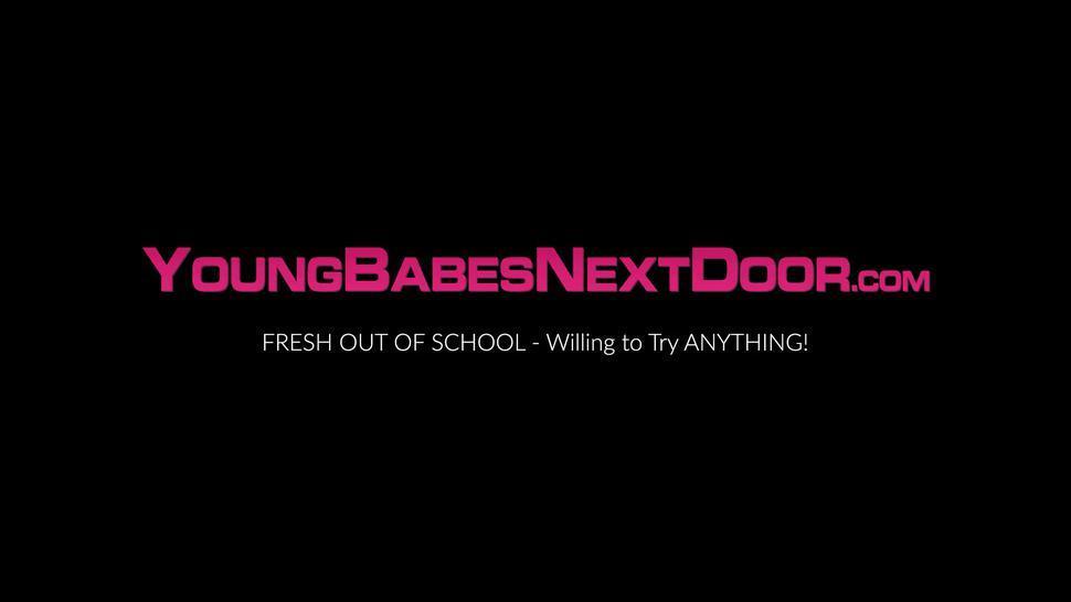 YOUNG BABES NEXT DOOR - Teen ebony babe Milu Blaze banged POV after sloppy blowjob