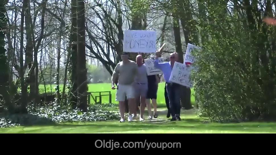 Grandfathers gang bang ing young pussy