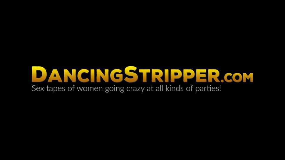 DANCING STRIPPER - Busty babe sucking on a stripper cock at bachelorette party