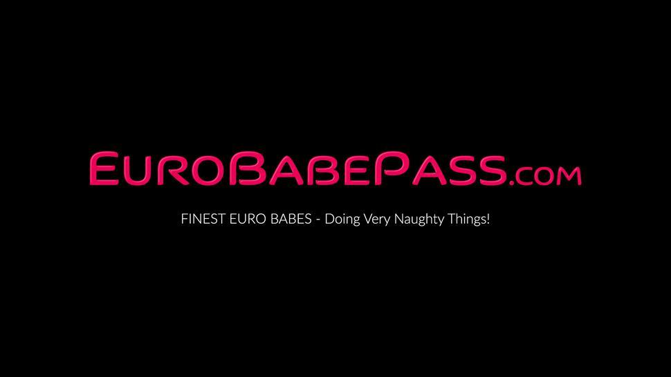 EURO BABE PASS - Busty Euro teen Kiere strips her lingerie and uses dildo