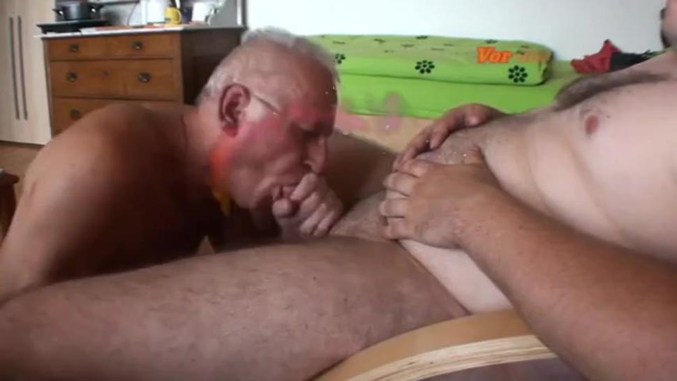 German grandpa sucking friend's dick & eating cum