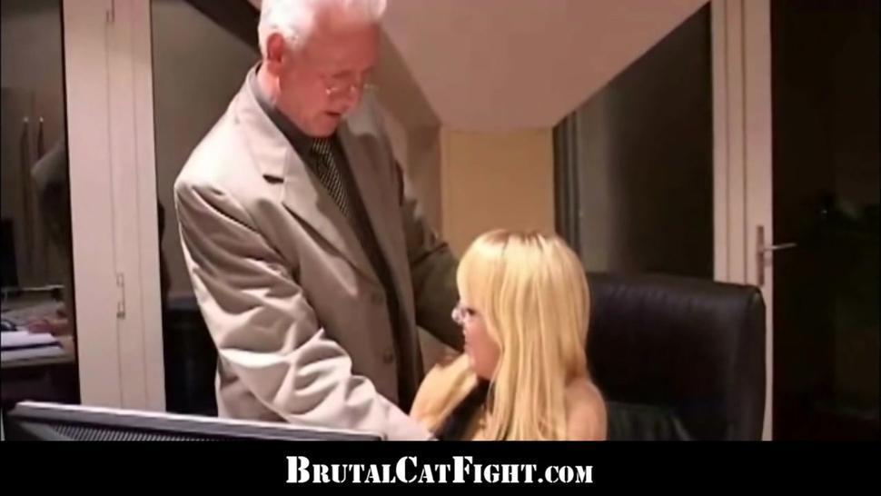 Hardcore group sex and blondes catfight at the office