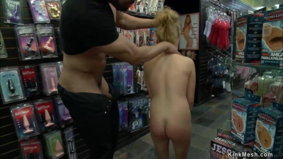 Petite blonde banged in public sex shop