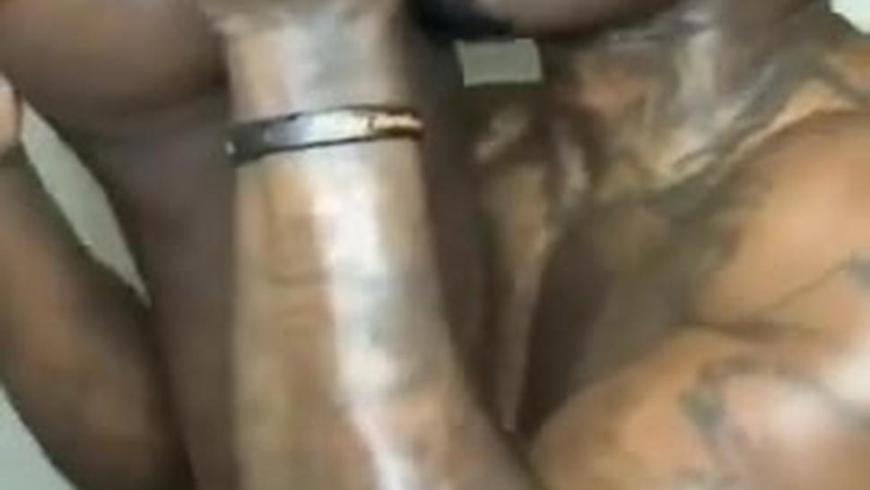Eating shaved african pussy & Ass