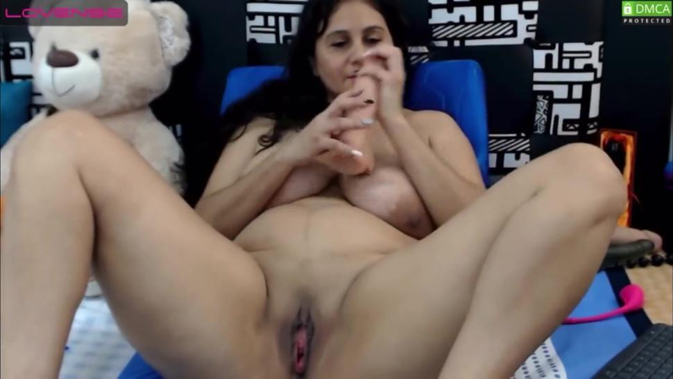 Sexy horny latina milf playing with wet pussy