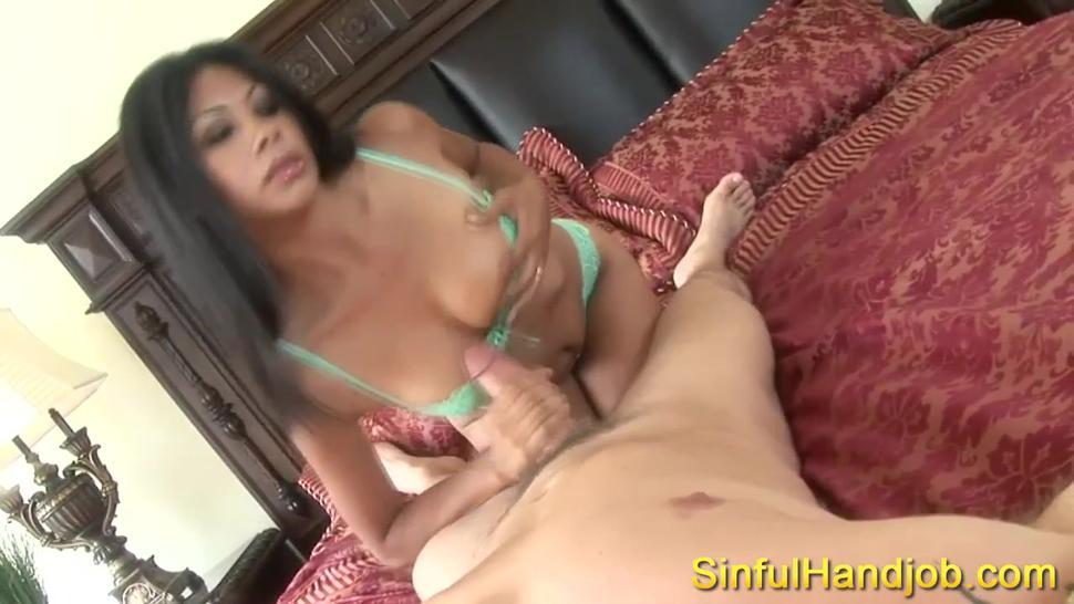 Sexy babe enjoys jerking a super big cock
