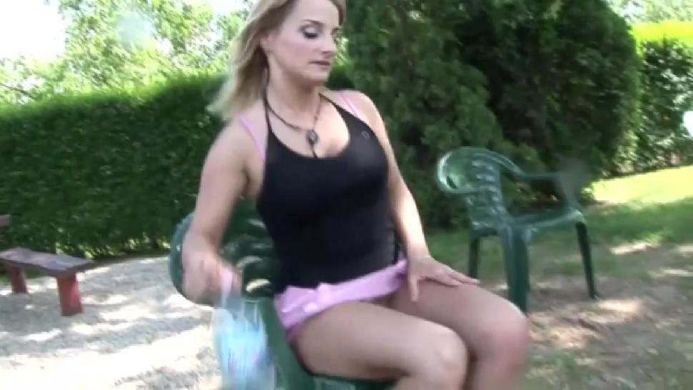 Blonde stepmom plowed in the yard