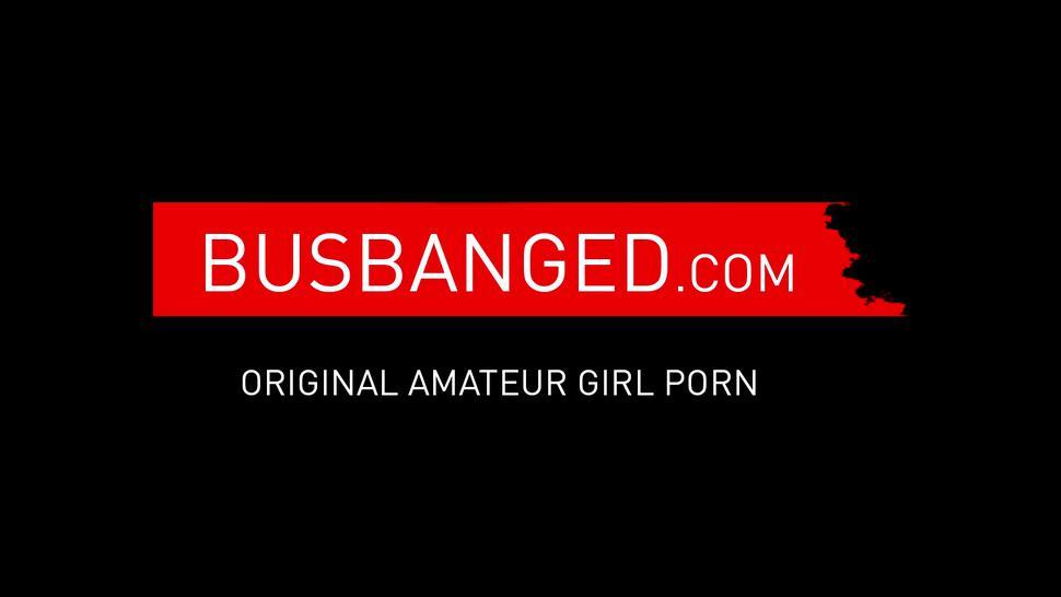 BUS BANGED - Horny amateur Jordan Maxx rides cock cowgirl in moving car