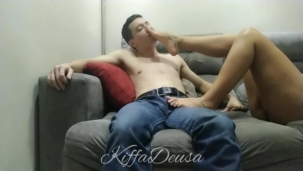 Pathetic Slave worship foot but only allowed to cum on his pants LONG PREVIEW