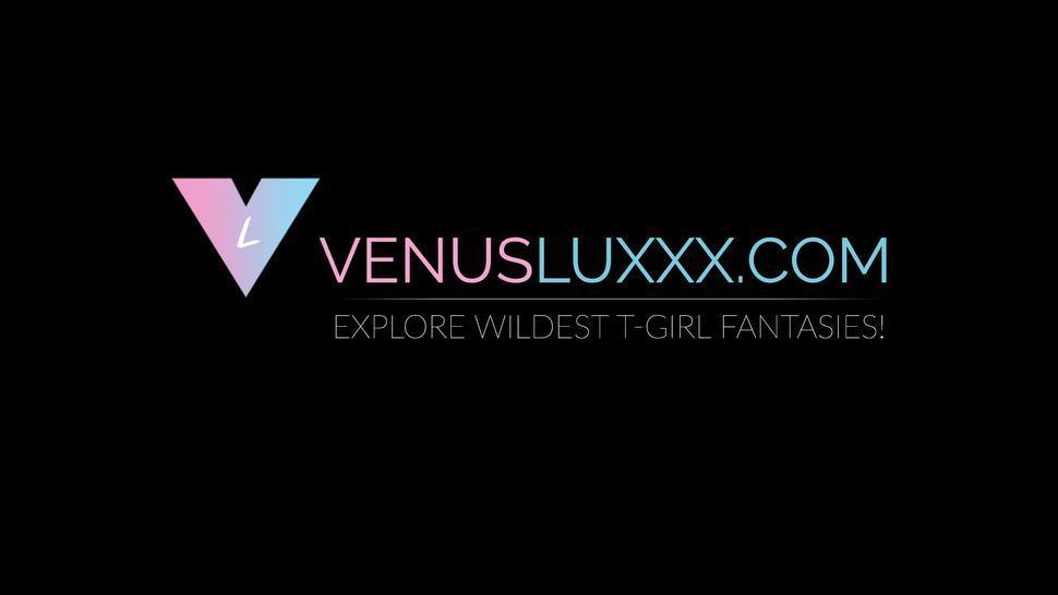 VENUS LUXXX - Hot ladyboy Venus Lux cums on jocks cock after drilling him