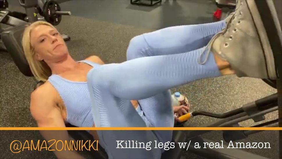 6ft Amazon goddess w/ size 11 feet crushes leg day in hot yoga pants! OMG HOT!