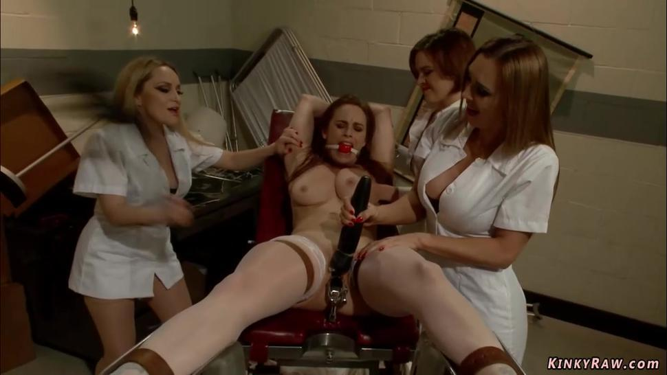 Three nurses whipping lesbian colleague