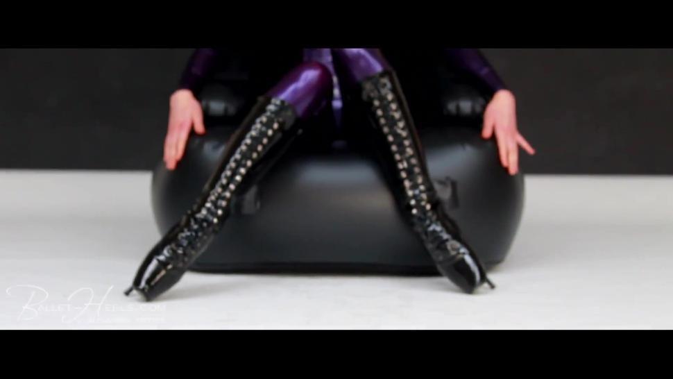 Alexandra Potter Purple Latex Catsuit