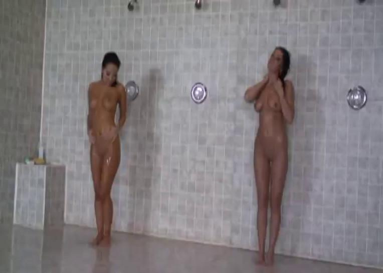 Asa Akira and Devi Emmerson lesbian scene in the showers