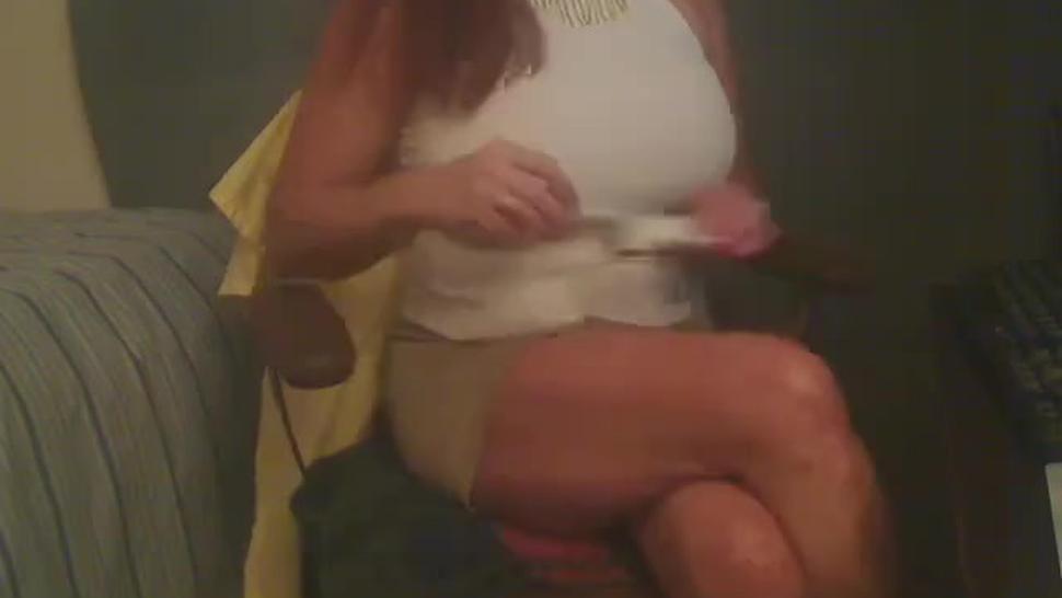 Busty redhead Milf smoking & playing