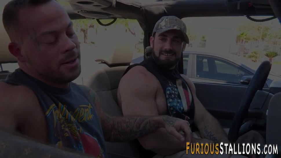 Hairy stud sucking huge dick