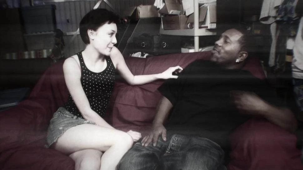 Tall beauty Zoe Angel gets her pussy fucked hard by a big black dick