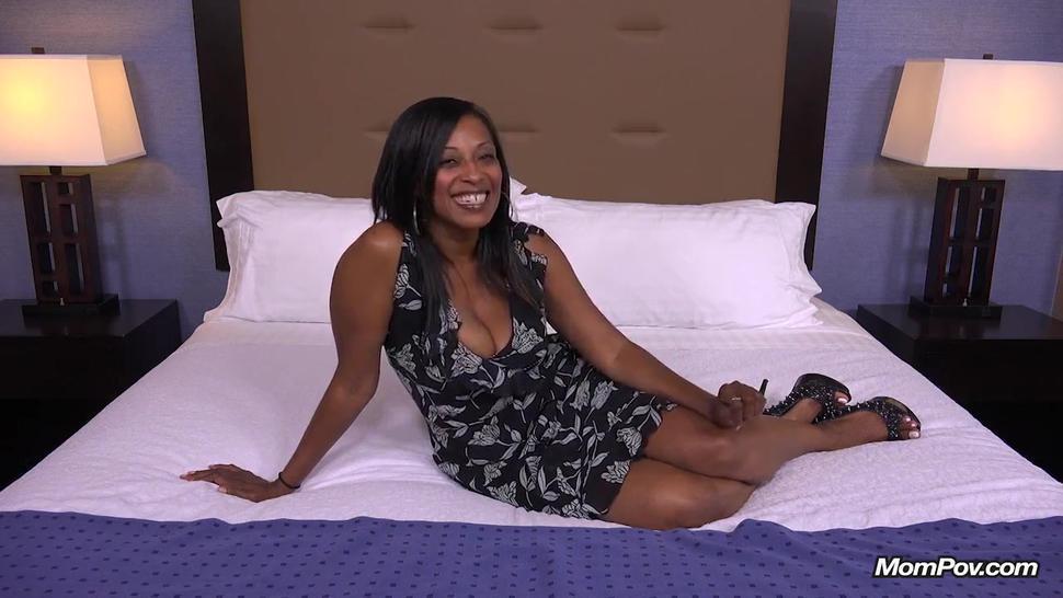 Lecherous Ebony mom fucks and tastes cum of white dick