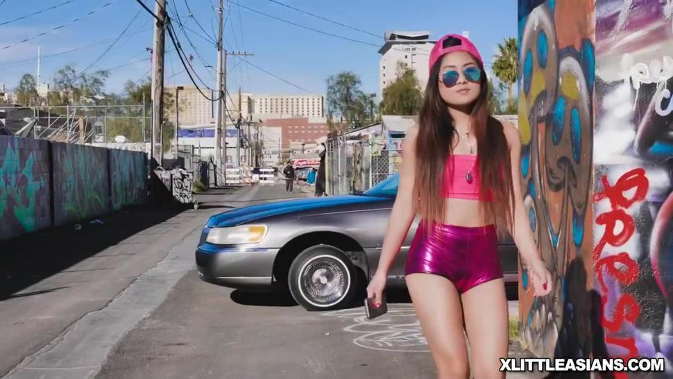 Black stud romping Elle Vonevas tight Asian slit