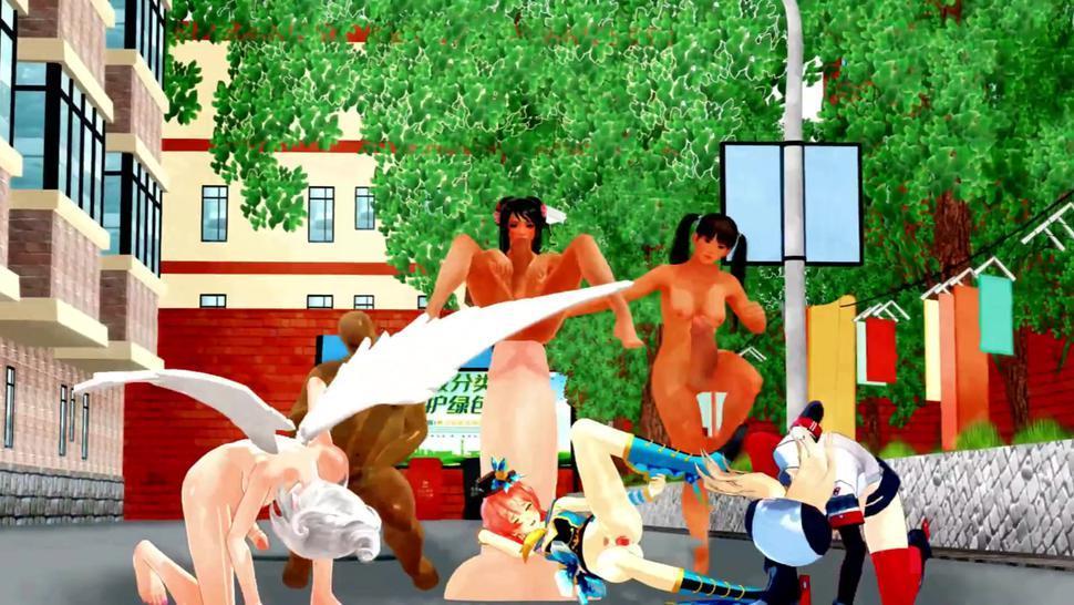 naked girl and naked futanari dance in the yard