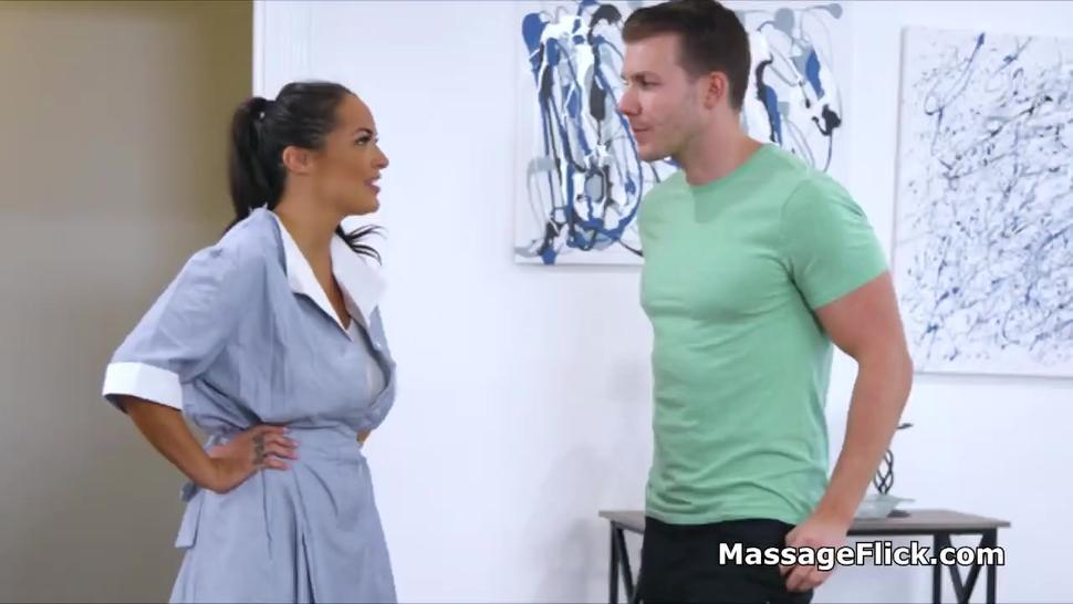 Big tit house cleaner does oily massage too