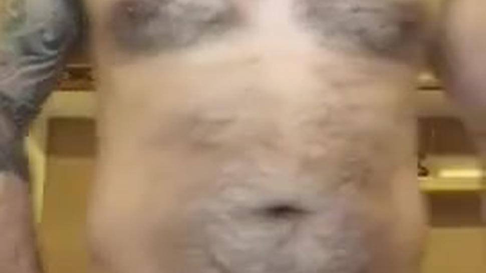 Bear man masturbates his big pumped dick and cum