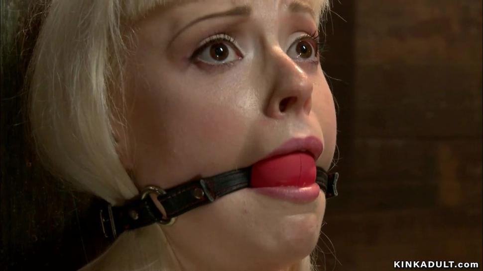 Gagged and taped mouth blonde slave