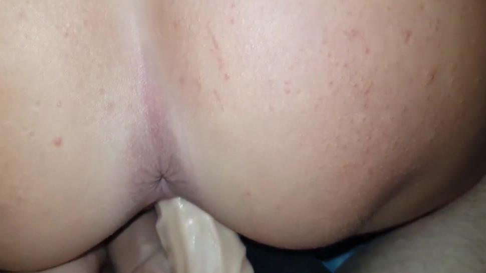 Dildo and my cock in my sister pussy ass massage