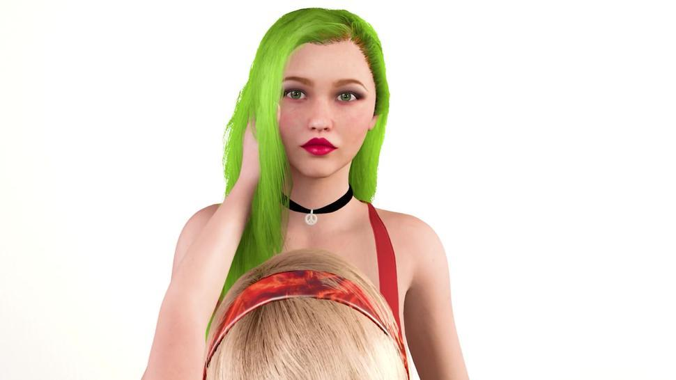 Green Hair Model Grows Huge Tits And Her Cute Friend Grows Envious - Breast Expansion