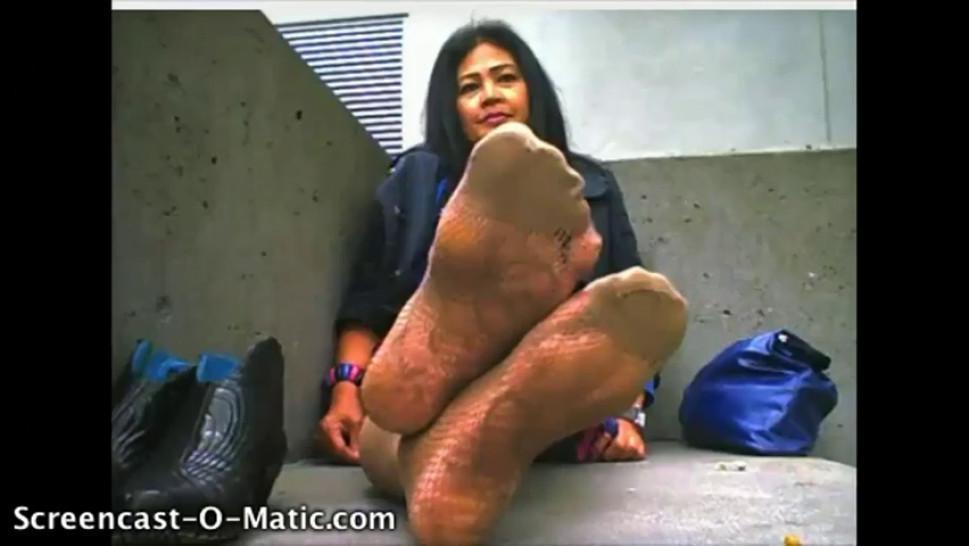 asian mature nylon sweaty foot stink