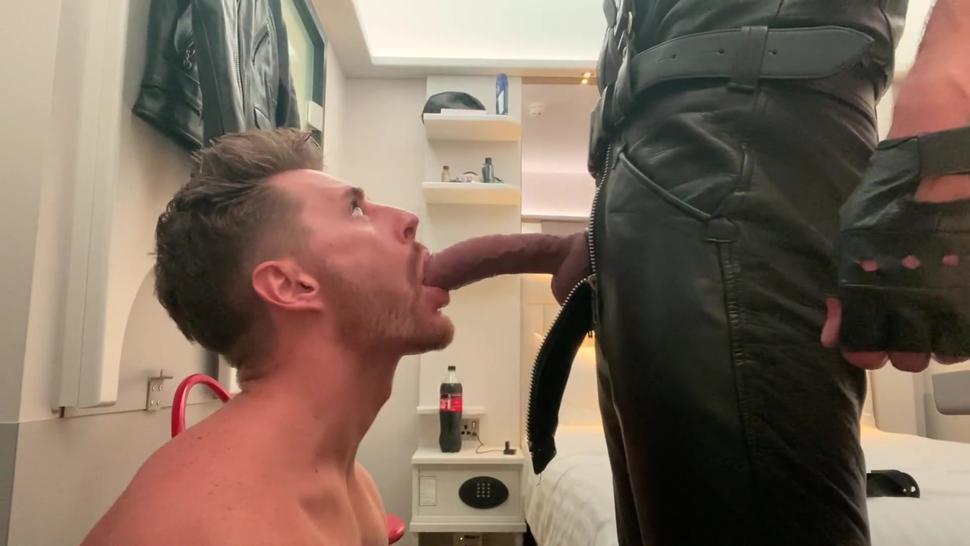 hot boy gagging on 10 inch cock leather daddy