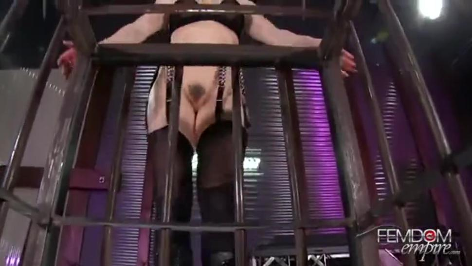Caged POV Slave made to suck dick for Mistress