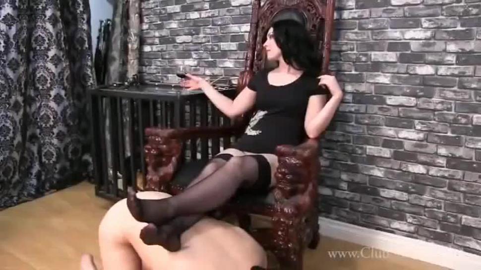 Slave worships mistress feet