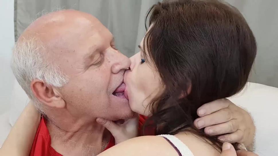 tongue sucking like crazy with old guy