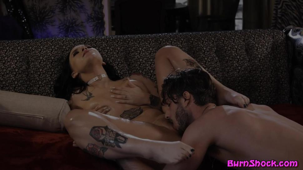 Cock loving tattooed babe riding big fat cock