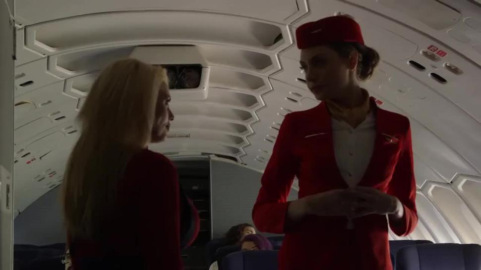 Hot and Beautiful Stewardess on bord