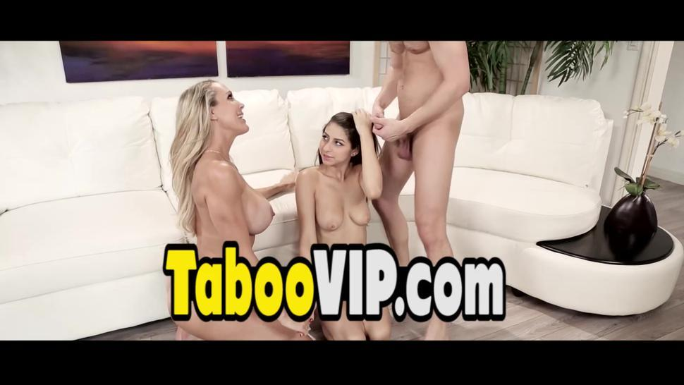 Busty bisex mature sharing a big cock with a teen slut