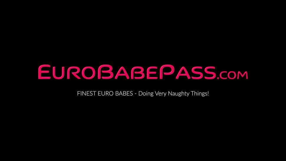 EURO BABE PASS - Cute Euro school girl Lady Dee rides and sucks massive dick