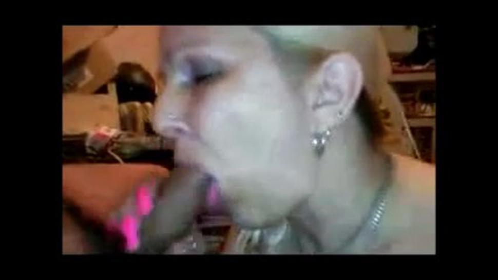 Long nails mature lady sucking dick slowly and get cum in mouth