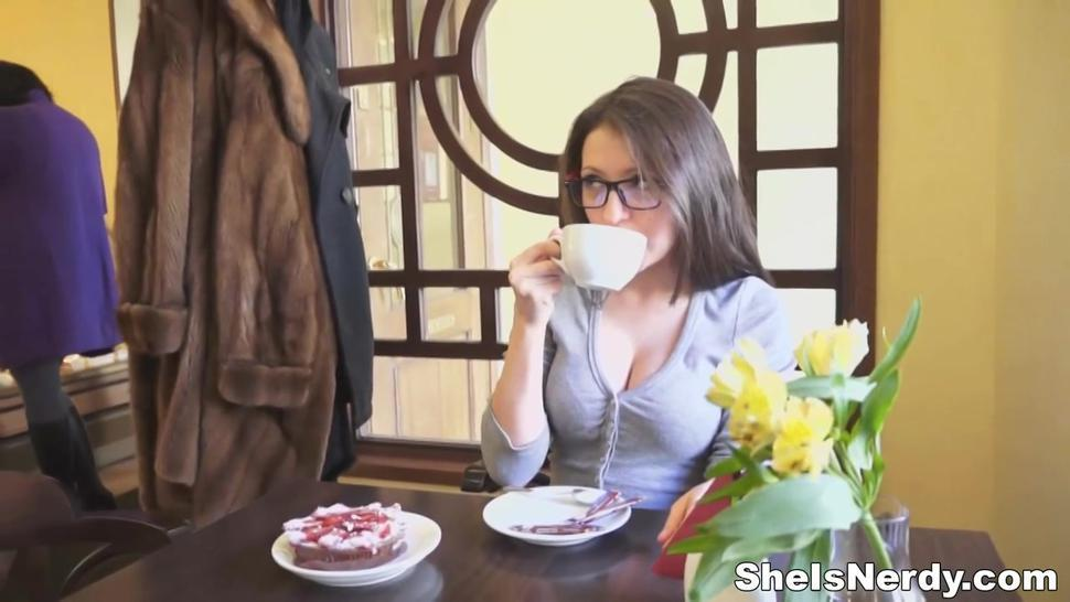 atrractive guy joins nerdy teen for a coffee and comes to business