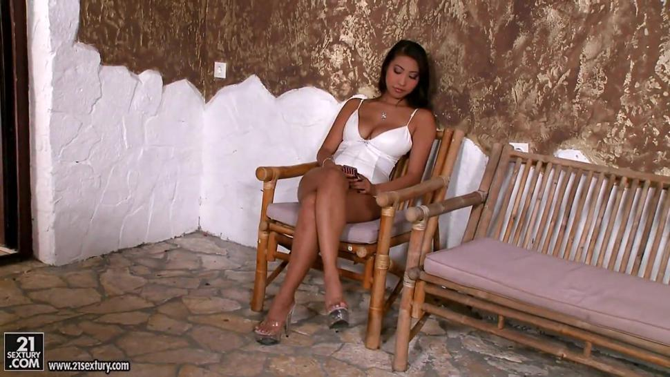 Young Asian woman Sharon Lee served the client in full