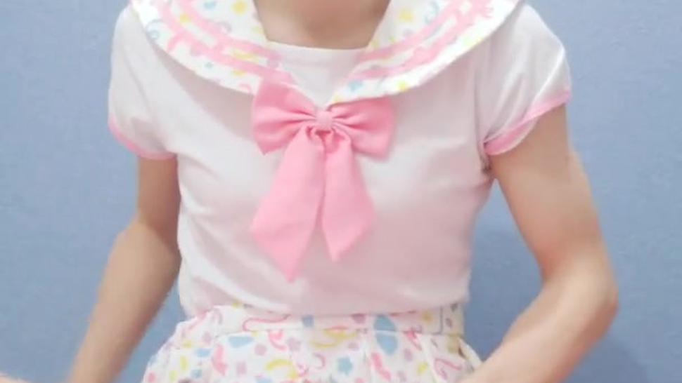 japanese crossdresser in pinky school uniform cosplay cumshot