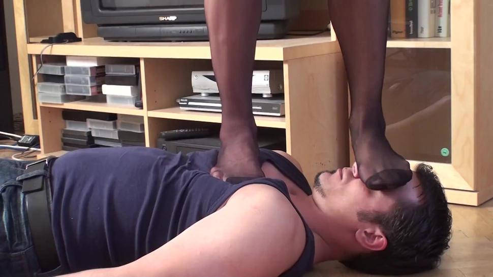 turkish mistress trample her slave with nylon feet