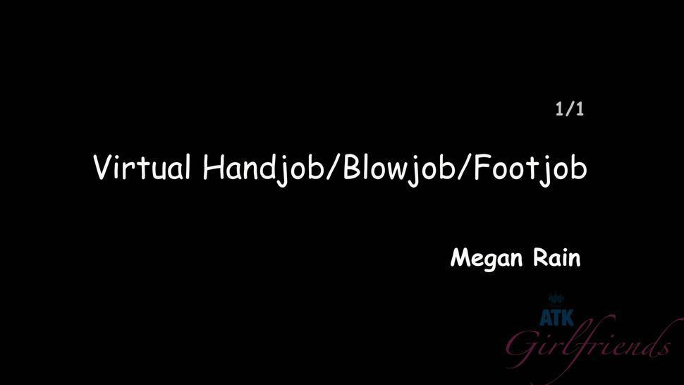 Girl Gives Handjob, Blowjob And Footjob - Megan Rain