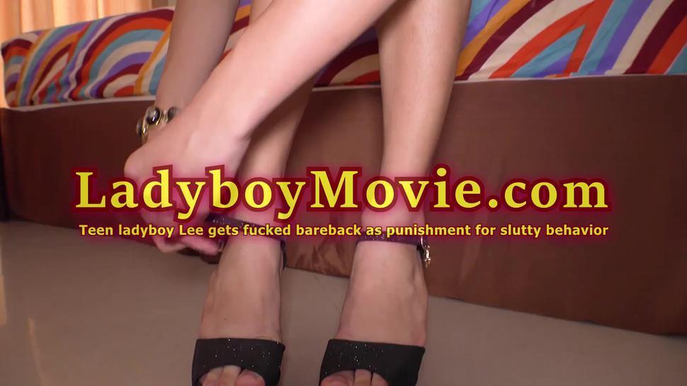 Teen Ladyboy Lee Toyed And Fucked Bareback