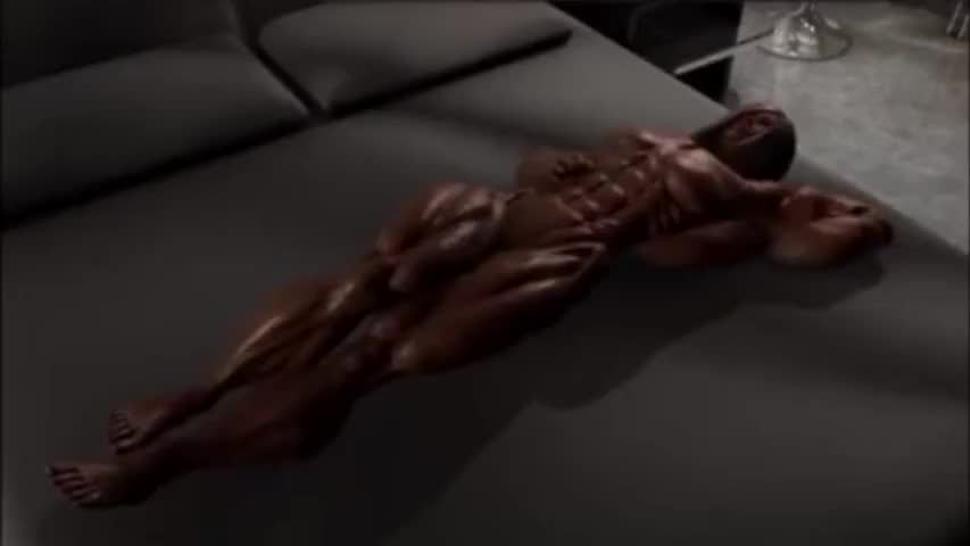3D Incredible Muscle Oil Female Bodybuilder Fingering