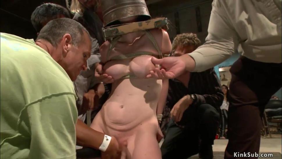 Slut deep throat in strappado in public